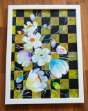 "Tablou pictat manual pictura acrilica ""Checkered Flowers"""