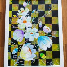 """Tablou pictura acrilica """"Checkered Flowers"""""""