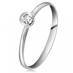 Inel din aur alb 14K - zirconiu transparent în montură lucioasă, brațe înguste - Marime inel: 54