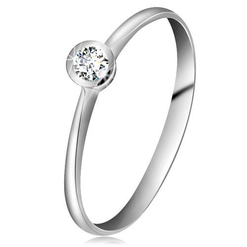Inel din aur alb 14K - zirconiu transparent în montură lucioasă, brațe înguste - Marime inel: 53