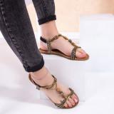 Sandale dama cu talpa joasa negru cu auriu Madelia