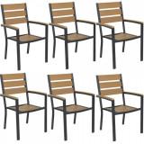 Set 6 scaune cu brate POLYWOOD NATURAL 60x57x89cm B003046-9520 Raki