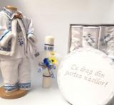 Cumpara ieftin Set Traditional Botez Baiat - Costumas + Trusou + Cutie + Lumanare 2
