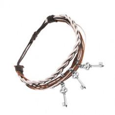 Brățară împletită, șnururi maro, negre și albe, trei chei din oțel