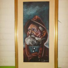 PORTRET DE BARBAT , dimensiuni mari , PASTEL  Scoala suedeza , semnat  , tablou, Portrete, Altul