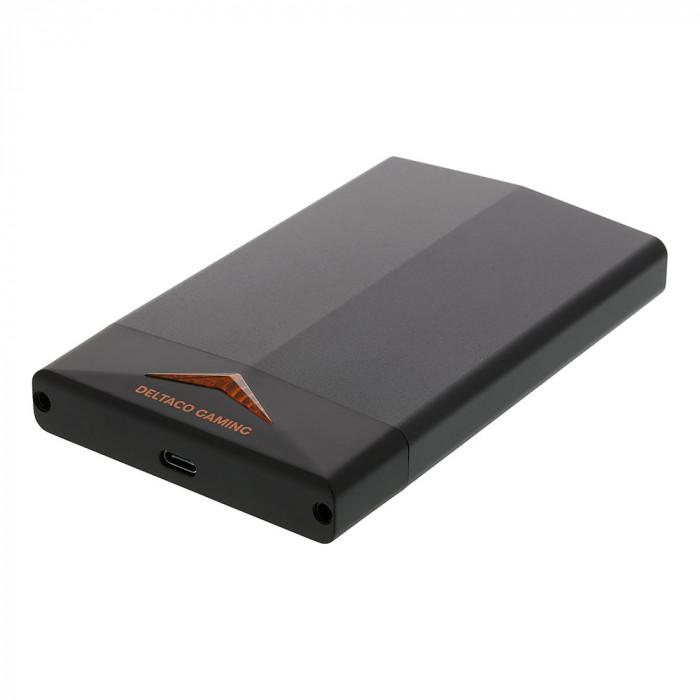 "Rack extern USB-C 3.1 DELTACO GAMING, 2.5"" SATA / SSD, max 2TB HDD, LED, Negru"