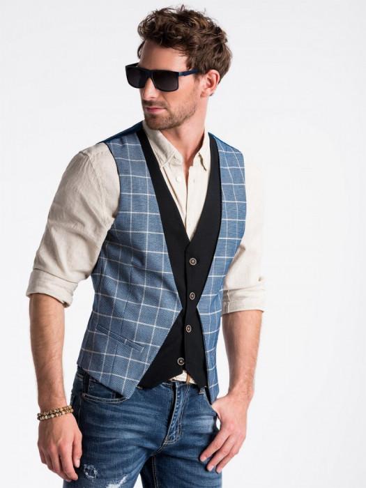 Vesta premium, eleganta, barbati - V49-albastru-inchis