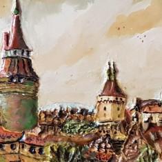 Tablou - pictura veche ulei - natura statica - rama frumoasa, Peisaje, Realism