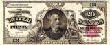 20 dolari 1891 Reproducere Bancnota USD , Dimensiune reala 1:1