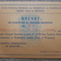 Brevet de purtator al insignei sportive de aur/ 1953
