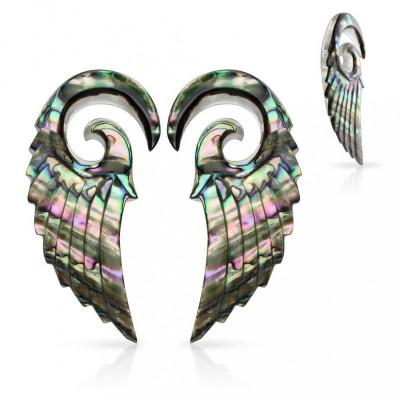 Expandere realizate din material organic, spirală cu aripă de înger, scoică Paua - Lățime: 2,5 mm foto