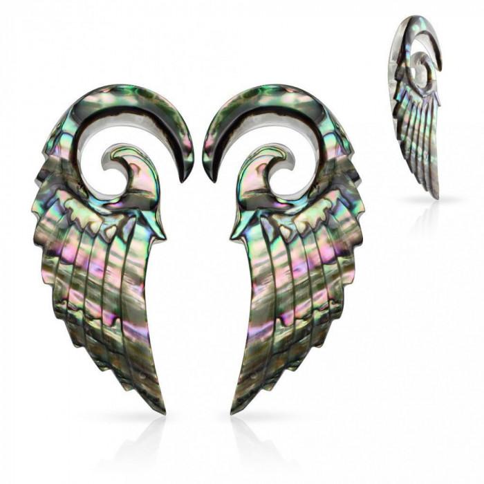Expandere realizate din material organic, spirală cu aripă de înger, scoică Paua - Lățime: 2,5 mm