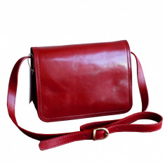 Geanta piele naturala, rosie, GD101, Geanta stil postas, Rosu