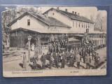 """GARA RAZBOIENI 1910 - LOCOMOTIVA ABUR - TREN -""""CFR-ISTI""""-MILITARI- CHELNERI, ETC, Circulata, Fotografie"""