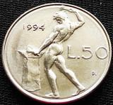 Moneda 50 LIRE - ITALIA, anul 1994 *cod 894 = modelul mic, Europa