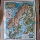 Harta veche Suedia, Norvegia, Danemarca, Finlanda, Estonia (plansa atlas 1924)