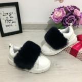 Adidasi albi cu puf negru pantofi sport fete cu scai piele eco 28 30 33