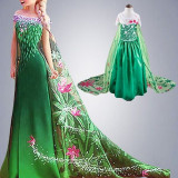 Rochie/rochita printesa Elsa Frozen Fever verde cu trena/serbari petreceri