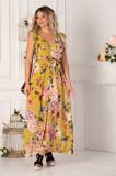 Rochie Jannine galbena cu imprimeuri florale roz