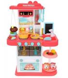 Bucatarie pentru copii cu 43 de elemente, sunete si lumini interactive, roz