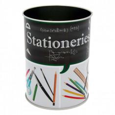Suport metalic pentru pixuri si creioane, model stationeries, 8×10 cm, multicolor