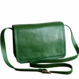 Geanta dama de umar din piele naturala, verde, GD101V, Geanta stil postas