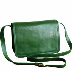 Geanta piele naturala, verde, GD101, Geanta stil postas