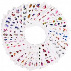 Set stickere/abtibilduri pentru unghii pe baza de apa Flori cu sclipici 50 FOLII