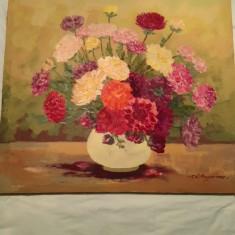 Tablou ulei pe panza Lucretia MEGYESI- Scoala baimareana, Flori, Realism