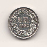 SV * Elvetia  1 / 2  FRANC  1952   ARGINT .835     AUNC, Europa