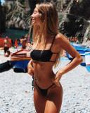 Costum de baie Mini reglabil Bandou Sexy Sutien Bikini Tanga Lady Lust Push Up