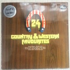24 country western favourites dublu disc vinyl 2 lp gatefold compilatie muzica, VINIL