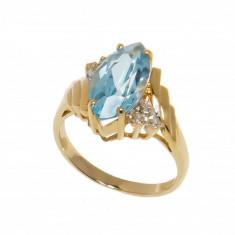 Inel din aur galben 14K cu topaz si diamante, circumferinta 52 mm