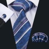 Set cravata matase butoni batista model D +cutie cadou, Albastru, Argintiu, Auriu, Multicolor, Orange, Rosu