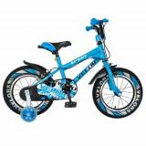 Cumpara ieftin Bicicleta Copii VELORS V1801A, Roti 18inch, frane C-Brake, roti ajutatoare (Negru/Albastru)