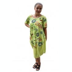 Rochie Agnette, imprimeu camp flower, nuanta de verde