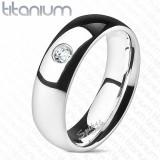 Verighetă din titan cu zirconiu - netedă, 6 mm - Marime inel: 52