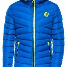 Geaca pentru barbati albastru ideal ski de iarna cu gluga si fermoar model slim c363