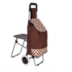 Carucior cumparaturi piata cu scaunel, Maron