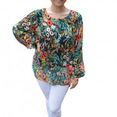 Bluza vaporoasa plisata Ella ,imprimeu rafinat ,nuanta de multicolor