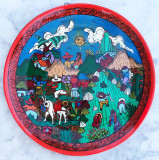 Cumpara ieftin Farfurie decorativa Mexican Folk Art, cu agatatoare, pictata manual