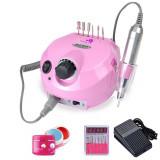 Cumpara ieftin Set Manichiura Freza Electrica Profesionala Unghii 30000RPM Pink 202 + 3 Geluri Uv Unghii