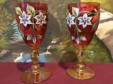 Vintage / Design - Lot pahare de Bohemia realizate manual cu flori emailate !