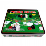 Set de poker 500 Chipuri MARCATE VALORIC Cutie Metalica