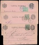 1887-1890 Romania - 3 intreguri cp format variat cu marci Vulturi toate diferite