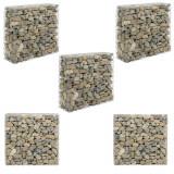 Set 5 bucati cos piatra - gard Gabion ABGB-0292, 100 x 40 x 90 cm, metal, gri