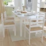 Set 6 scaune de bucătărie din lemn pătrate, alb, Set scaune