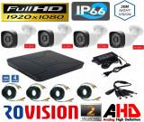 Cumpara ieftin Kit 4 camere supraveghere 2MP Full HD 1080p, IR 30m, Exterior + DVR 4 canale 5MP + Sursa + Cablu sertizat + Cablu splitter