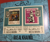 RAS AL KHAIMA, PHILATELIC EXHIBITION 1968 - COLIȚĂ IMPERF. MNH