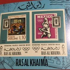 RAS AL KHAIMA, PHILATELIC EXHIBITION 1968 - COLIȚĂ IMPERF. MNH